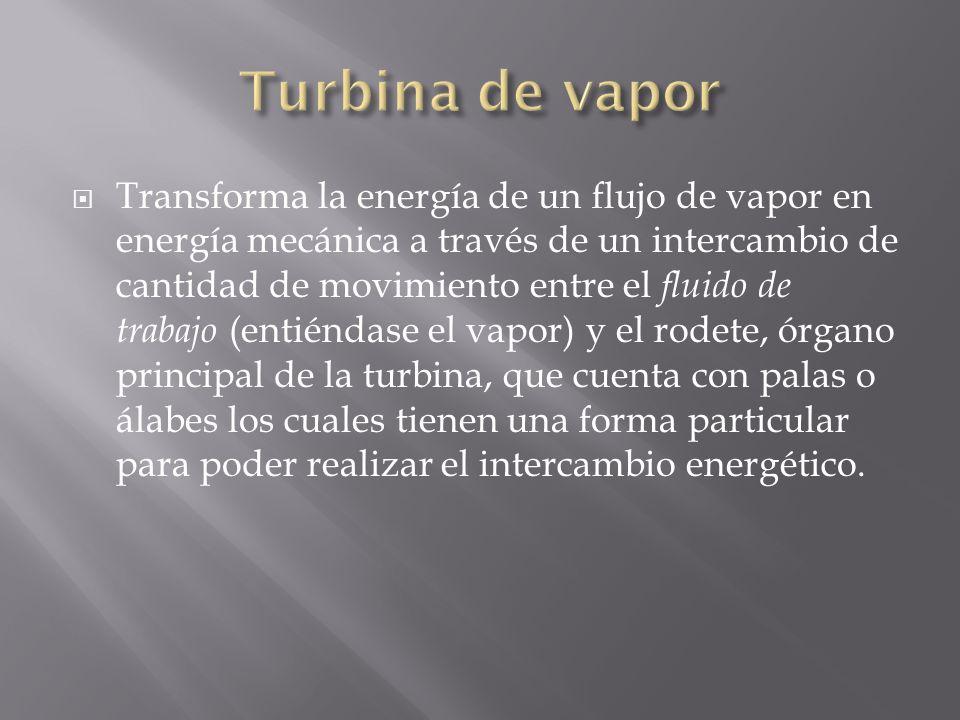 Transforma la energía de un flujo de vapor en energía mecánica a través de un intercambio de cantidad de movimiento entre el fluido de trabajo (entién