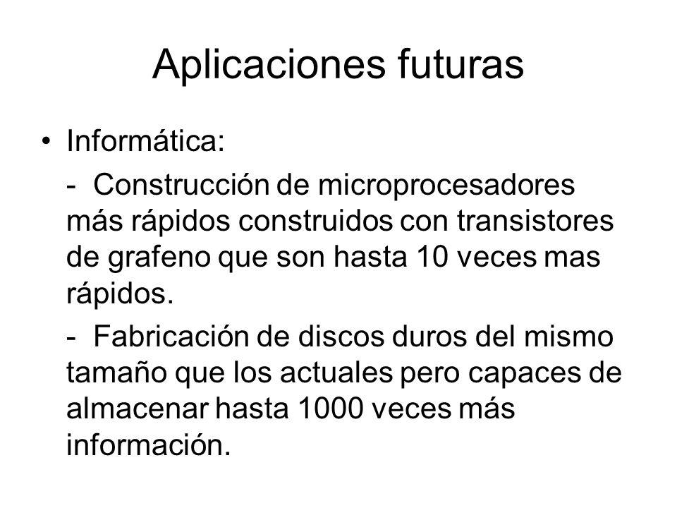 Aplicaciones futuras Informática: - Construcción de microprocesadores más rápidos construidos con transistores de grafeno que son hasta 10 veces mas r