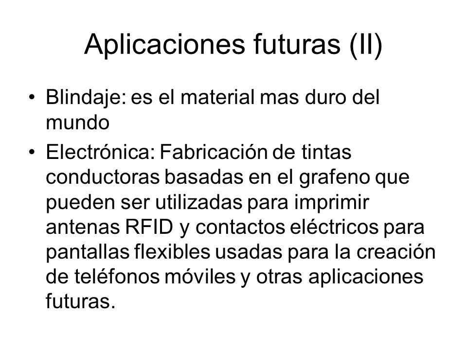 Aplicaciones futuras (II) Blindaje: es el material mas duro del mundo Electrónica: Fabricación de tintas conductoras basadas en el grafeno que pueden