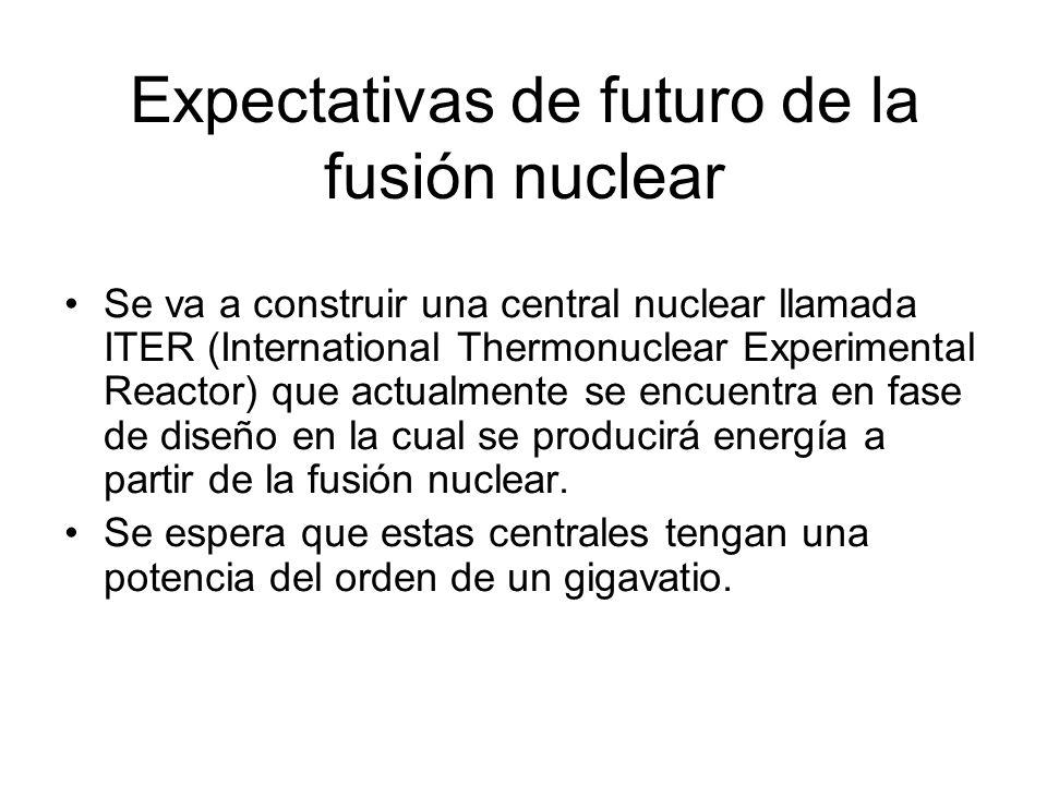 Expectativas de futuro de la fusión nuclear Se va a construir una central nuclear llamada ITER (International Thermonuclear Experimental Reactor) que
