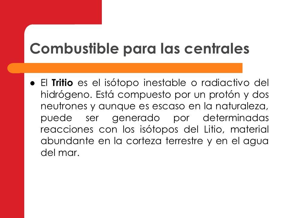 Combustible para las centrales El Tritio es el isótopo inestable o radiactivo del hidrógeno. Está compuesto por un protón y dos neutrones y aunque es