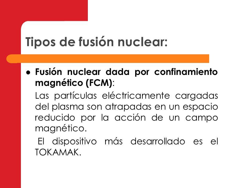 Tipos de fusión nuclear: Fusión nuclear dada por confinamiento magnético (FCM) : Las partículas eléctricamente cargadas del plasma son atrapadas en un