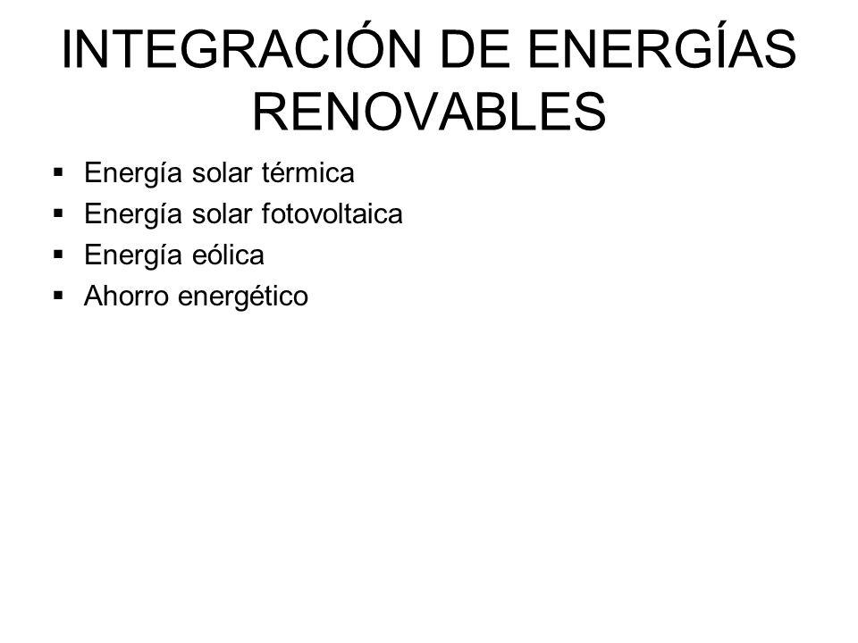 INTEGRACIÓN DE ENERGÍAS RENOVABLES Energía solar térmica Energía solar fotovoltaica Energía eólica Ahorro energético