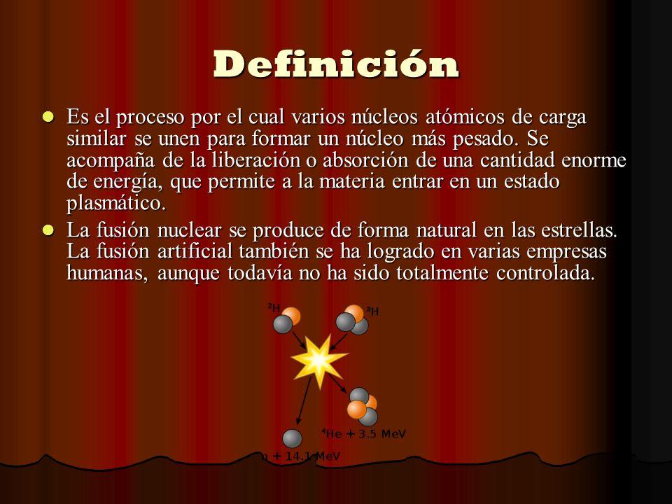 Definición Es el proceso por el cual varios núcleos atómicos de carga similar se unen para formar un núcleo más pesado. Se acompaña de la liberación o