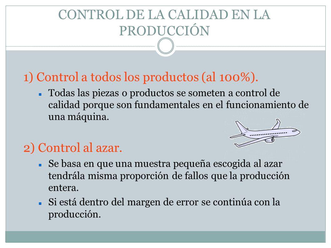 CONTROL DE LA CALIDAD EN LA PRODUCCIÓN 1) Control a todos los productos (al 100%). Todas las piezas o productos se someten a control de calidad porque