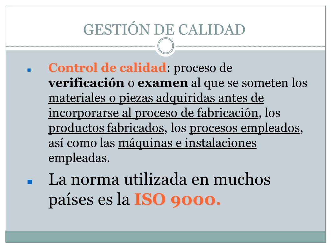 GESTIÓN DE CALIDAD Control de calidad Control de calidad: proceso de verificación o examen al que se someten los materiales o piezas adquiridas antes