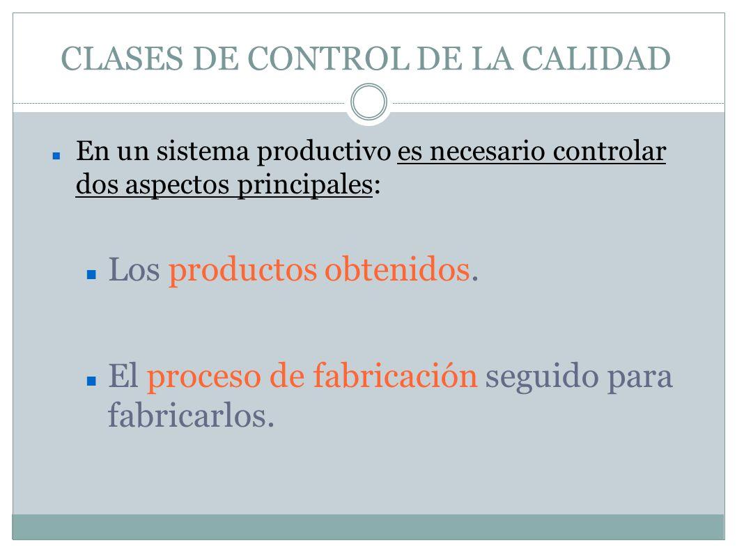 CONTROL DE CALIDAD DEL PRODUCTO Inicialmente Control de las características técnidas y dimensionales de los productos que se utilizarán como materia prima.
