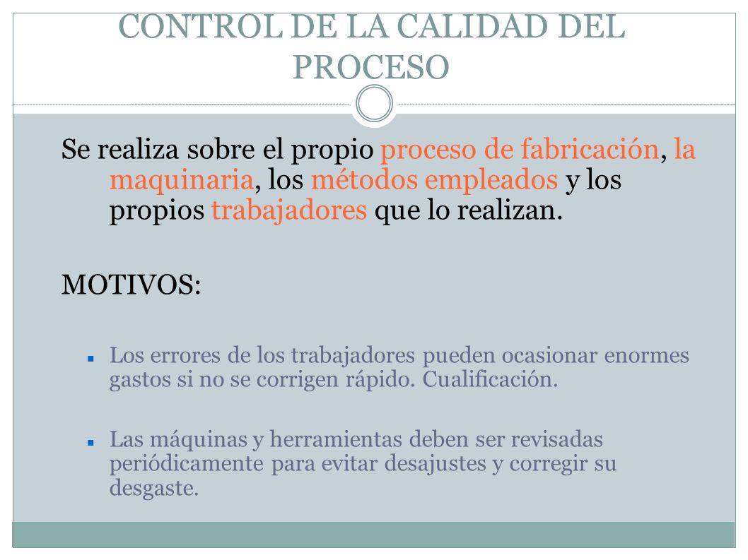 CONTROL DE LA CALIDAD DEL PROCESO Se realiza sobre el propio proceso de fabricación, la maquinaria, los métodos empleados y los propios trabajadores q