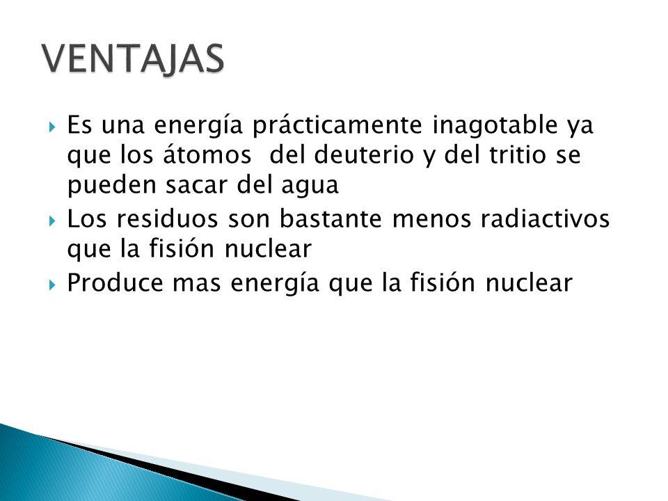 Es una energía prácticamente inagotable ya que los átomos del deuterio y del tritio se pueden sacar del agua Los residuos son bastante menos radiactivos que la fisión nuclear Produce mas energía que la fisión nuclear