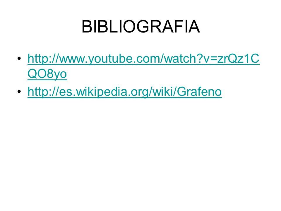 BIBLIOGRAFIA http://www.youtube.com/watch?v=zrQz1C QO8yohttp://www.youtube.com/watch?v=zrQz1C QO8yo http://es.wikipedia.org/wiki/Grafeno
