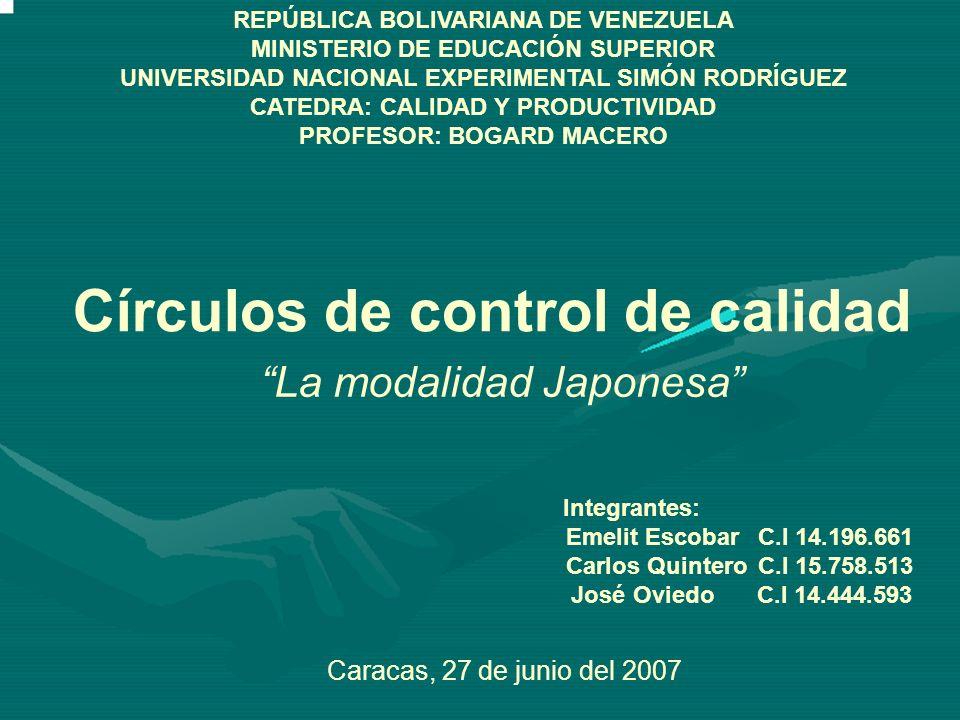 REPÚBLICA BOLIVARIANA DE VENEZUELA MINISTERIO DE EDUCACIÓN SUPERIOR UNIVERSIDAD NACIONAL EXPERIMENTAL SIMÓN RODRÍGUEZ CATEDRA: CALIDAD Y PRODUCTIVIDAD