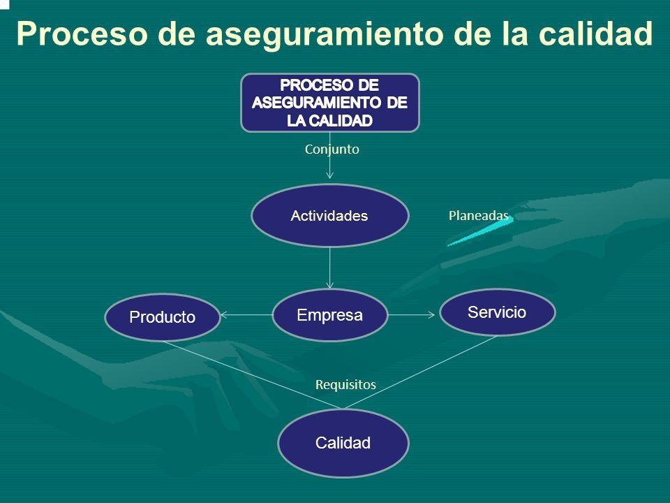 Actividades Conjunto Empresa Producto Servicio Calidad Planeadas Requisitos Proceso de aseguramiento de la calidad