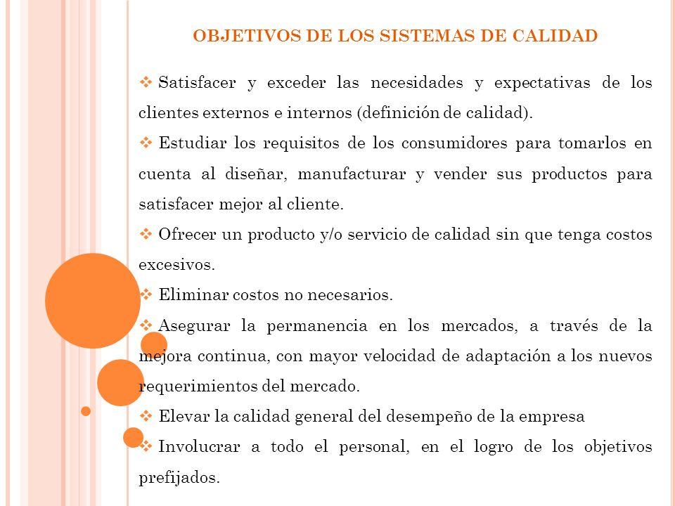 OBJETIVOS DE LOS SISTEMAS DE CALIDAD Satisfacer y exceder las necesidades y expectativas de los clientes externos e internos (definición de calidad).