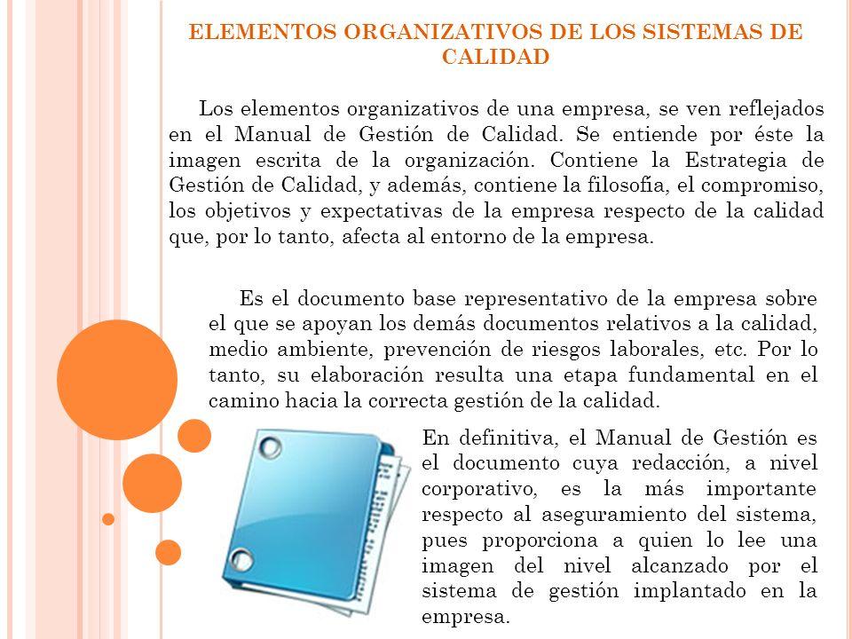ELEMENTOS ORGANIZATIVOS DE LOS SISTEMAS DE CALIDAD Los elementos organizativos de una empresa, se ven reflejados en el Manual de Gestión de Calidad. S