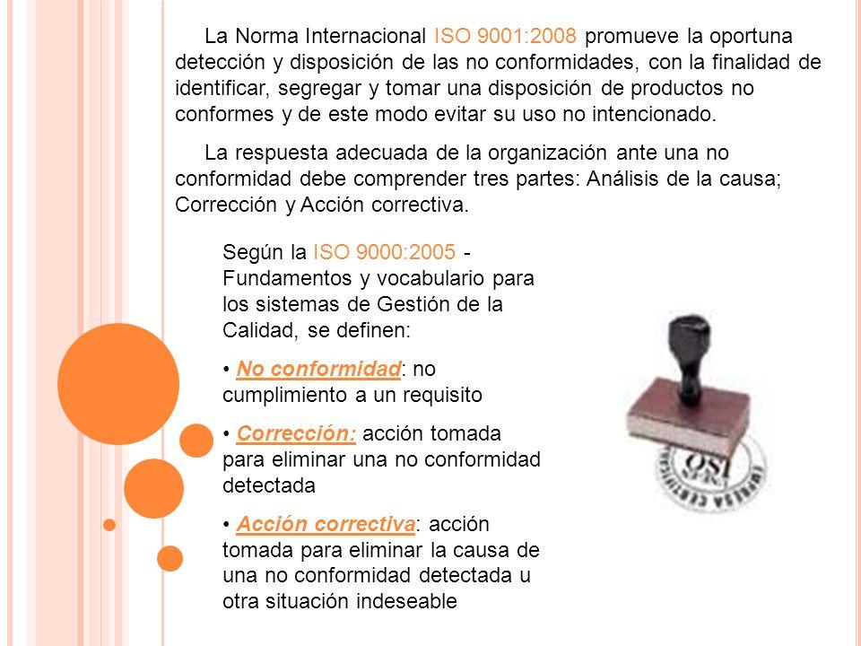 La Norma Internacional ISO 9001:2008 promueve la oportuna detección y disposición de las no conformidades, con la finalidad de identificar, segregar y