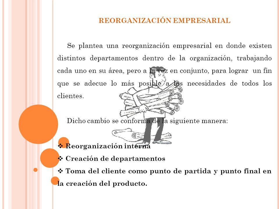 REORGANIZACIÓN EMPRESARIAL Se plantea una reorganización empresarial en donde existen distintos departamentos dentro de la organización, trabajando cada uno en su área, pero a la vez en conjunto, para lograr un fin que se adecue lo más posible a las necesidades de todos los clientes.