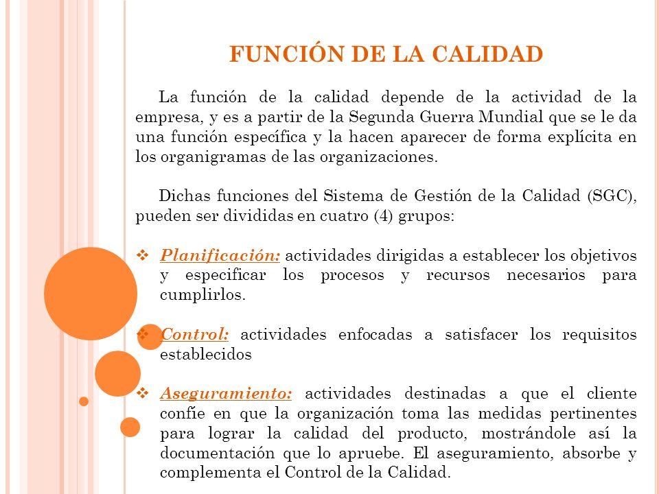 FUNCIÓN DE LA CALIDAD La función de la calidad depende de la actividad de la empresa, y es a partir de la Segunda Guerra Mundial que se le da una función específica y la hacen aparecer de forma explícita en los organigramas de las organizaciones.