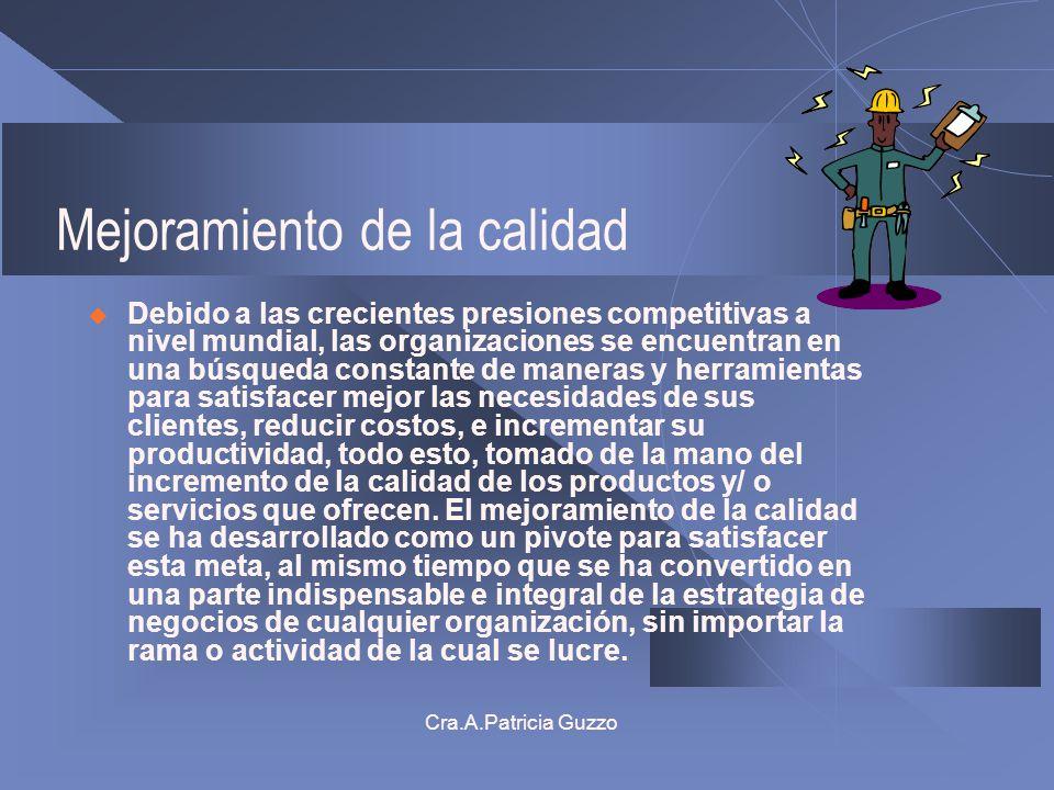 Cra.A.Patricia Guzzo Mejoramiento de la calidad Debido a las crecientes presiones competitivas a nivel mundial, las organizaciones se encuentran en un
