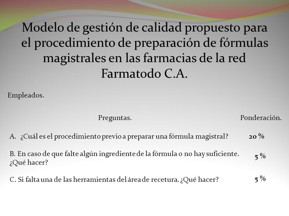 Modelo de gestión de calidad propuesto para el procedimiento de preparación de fórmulas magistrales en las farmacias de la red Farmatodo C.A. Empleado