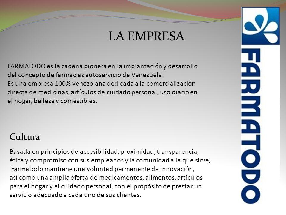 LA EMPRESA FARMATODO es la cadena pionera en la implantación y desarrollo del concepto de farmacias autoservicio de Venezuela. Es una empresa 100% ven