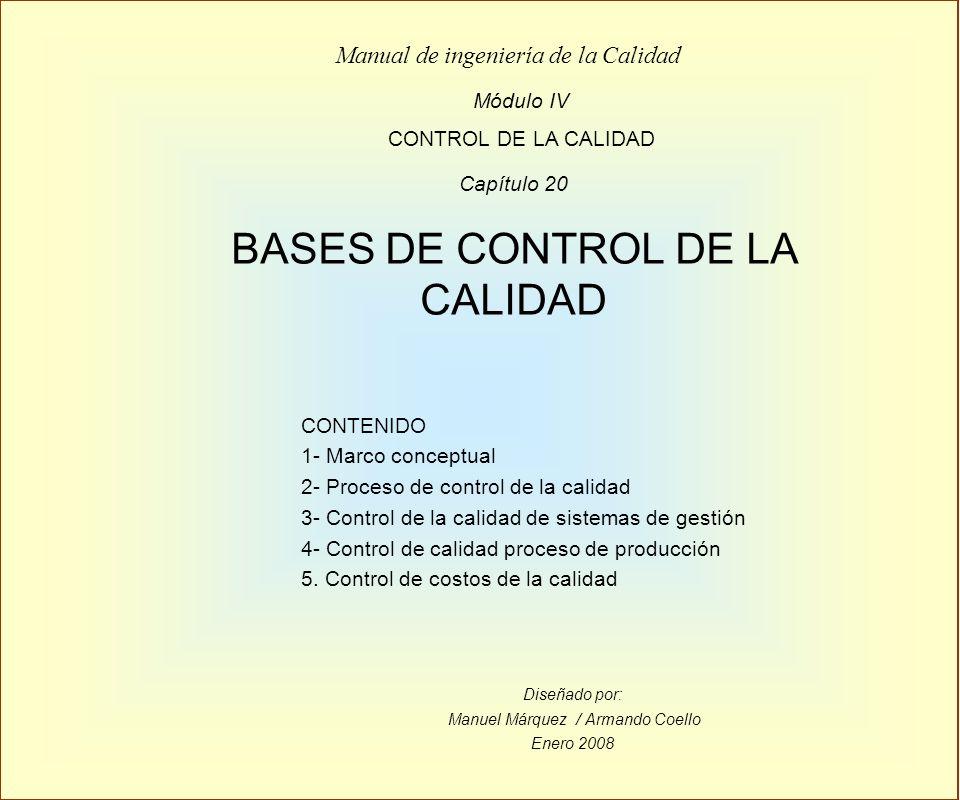 Diseñado por: Manuel Márquez / Armando Coello Enero 2008 Módulo IV CONTROL DE LA CALIDAD Manual de ingeniería de la Calidad Capítulo 20 BASES DE CONTR