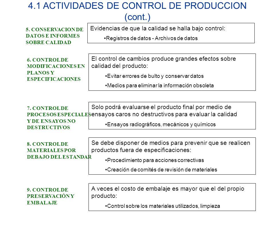 4.1 ACTIVIDADES DE CONTROL DE PRODUCCION (cont.) 5. CONSERVACION DE DATOS E INFORMES SOBRE CALIDAD Evidencias de que la calidad se halla bajo control: