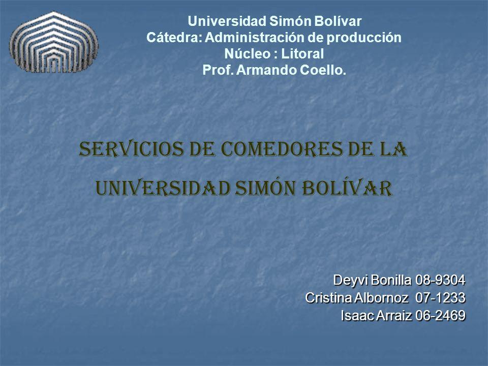 Universidad Simón Bolívar Cátedra: Administración de producción Núcleo : Litoral Prof. Armando Coello. Servicios de comedores de la Universidad Simón