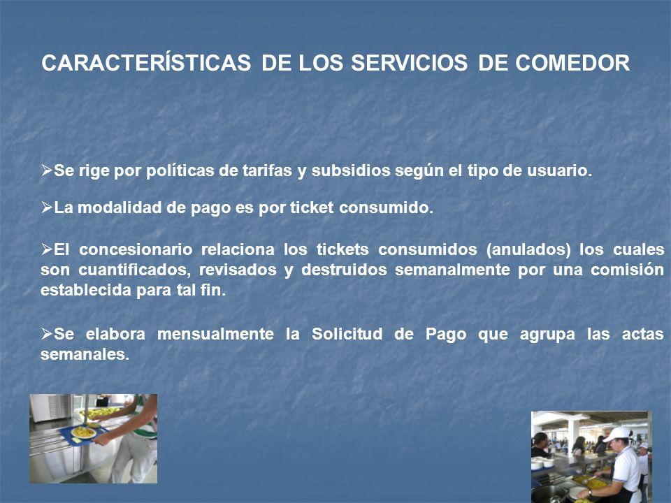 CARACTERÍSTICAS DE LOS SERVICIOS DE COMEDOR Se rige por políticas de tarifas y subsidios según el tipo de usuario. La modalidad de pago es por ticket