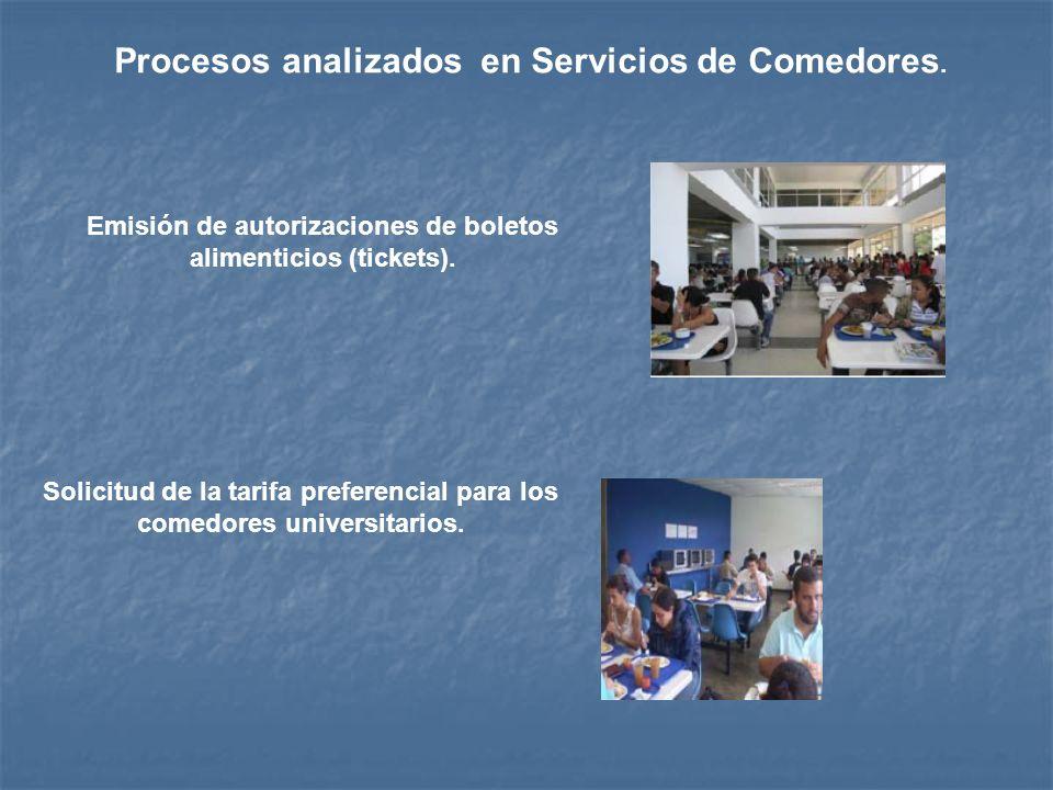 Procesos analizados en Servicios de Comedores. Emisión de autorizaciones de boletos alimenticios (tickets). Solicitud de la tarifa preferencial para l