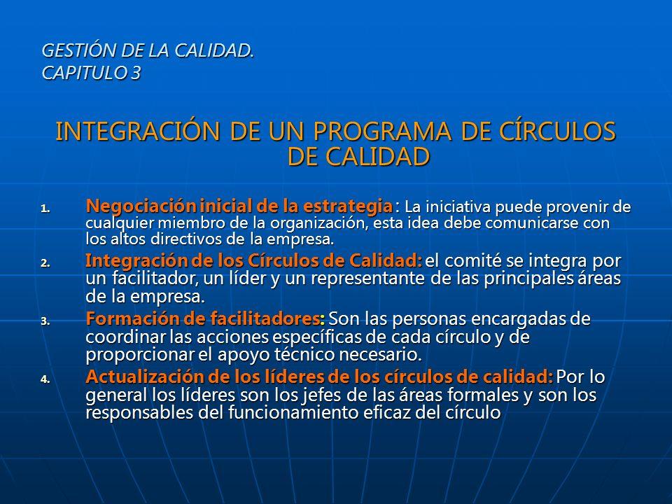 INTEGRACIÓN DE UN PROGRAMA DE CÍRCULOS DE CALIDAD 1. Negociación inicial de la estrategia : La iniciativa puede provenir de cualquier miembro de la or