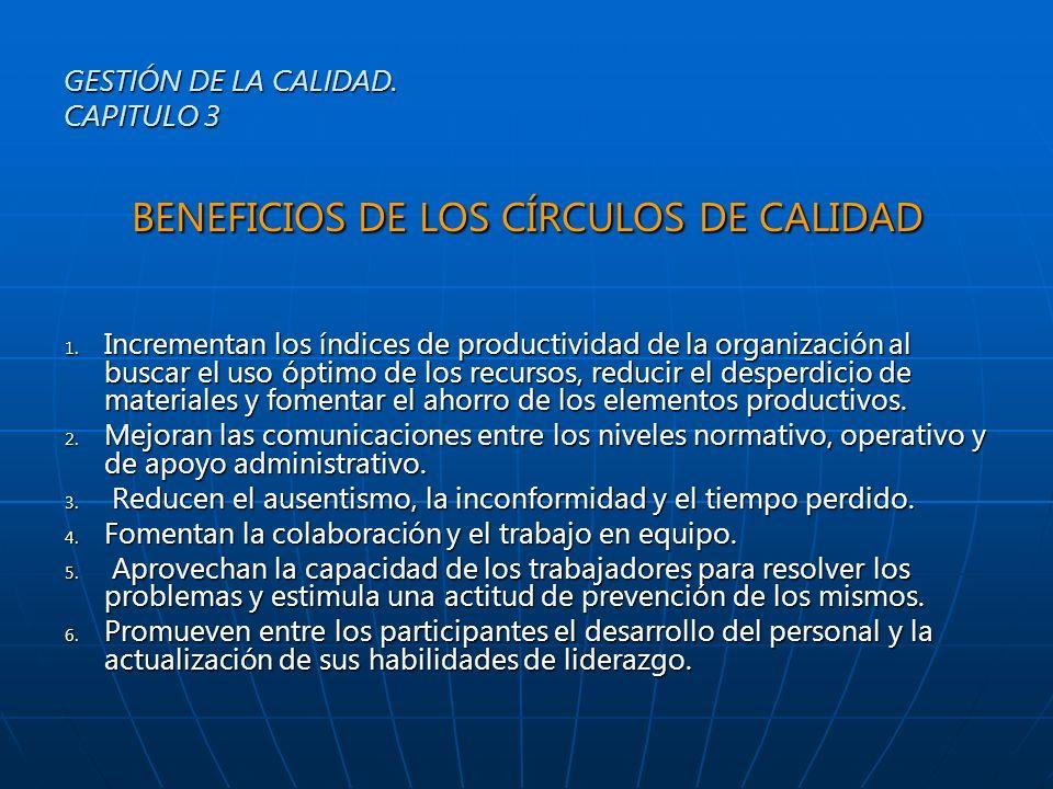 BENEFICIOS DE LOS CÍRCULOS DE CALIDAD 1. Incrementan los índices de productividad de la organización al buscar el uso óptimo de los recursos, reducir