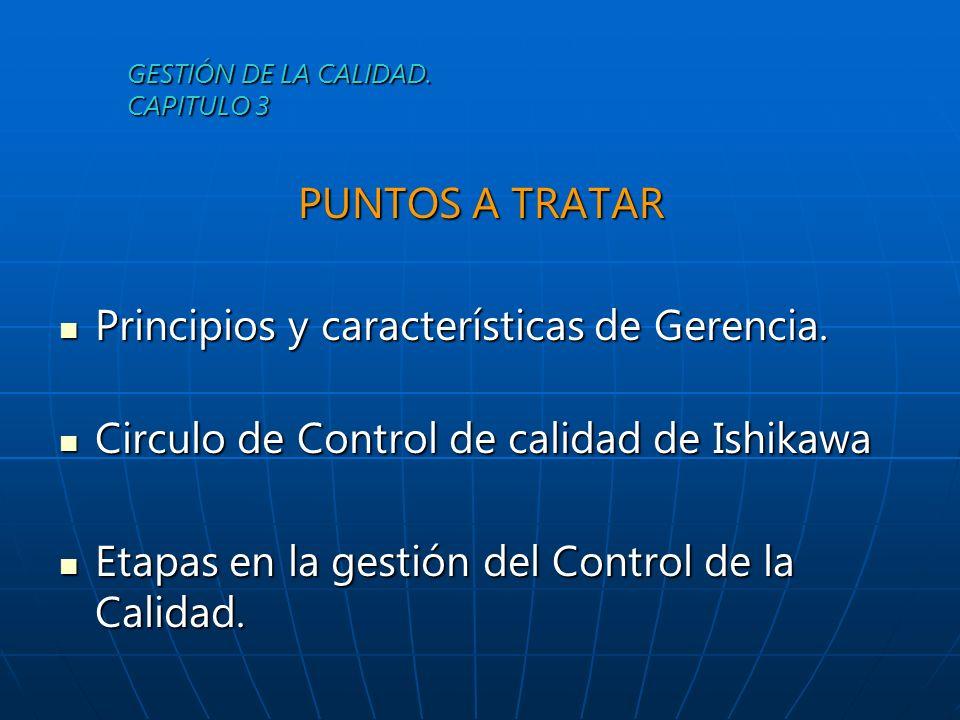 GESTIÓN DE LA CALIDAD. CAPITULO 3 PUNTOS A TRATAR Principios y características de Gerencia. Principios y características de Gerencia. Circulo de Contr