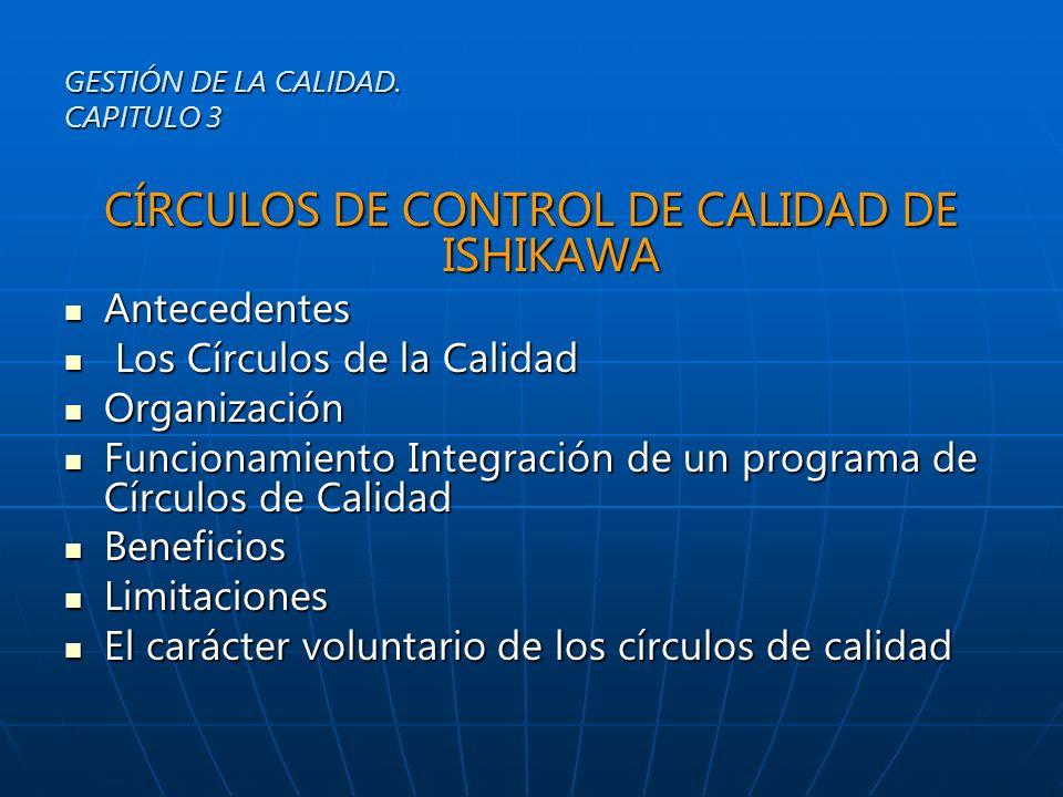 CIRCULOS DE CALIDAD DE ISHIKAWA El Círculo de la Calidad es un grupo pequeño de 3 a 12 empleados que participan voluntariamente, en su desarrollo personal y en el de la organización, que tienen el propósito de: GESTIÓN DE LA CALIDAD.