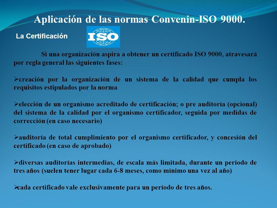 Aplicación de las normas Convenin-ISO 9000. Si una organización aspira a obtener un certificado ISO 9000, atravesará por regla general las siguientes