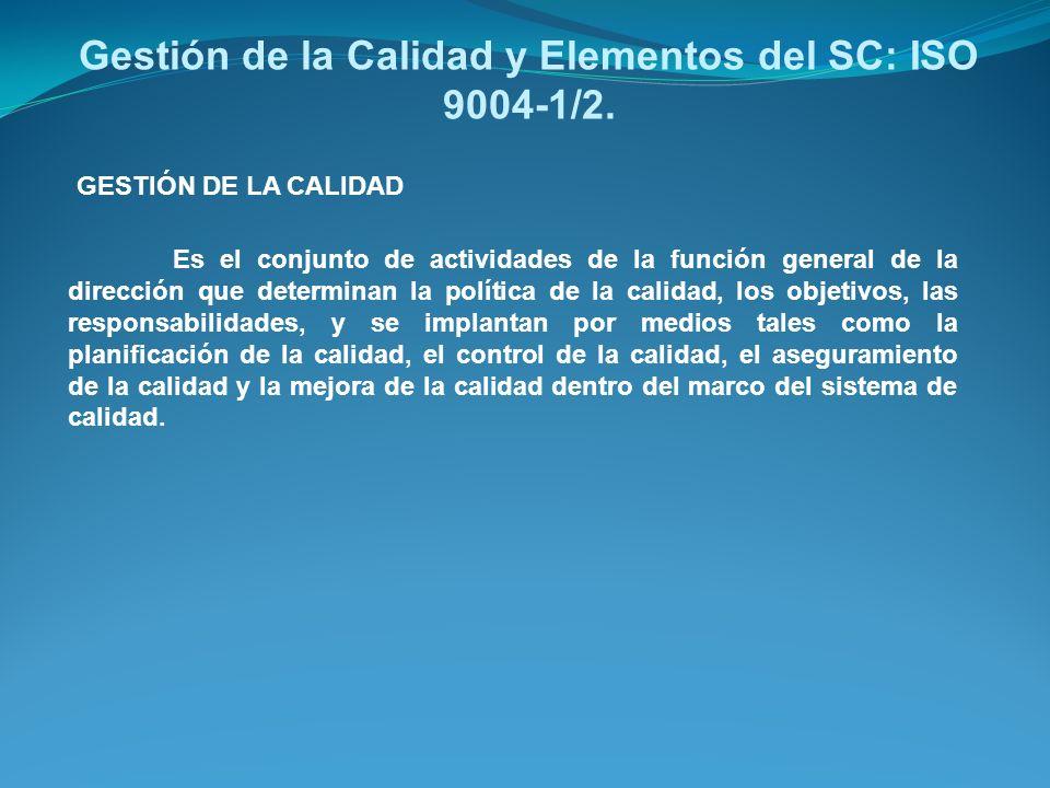 Gestión de la Calidad y Elementos del SC: ISO 9004-1/2. Es el conjunto de actividades de la función general de la dirección que determinan la política