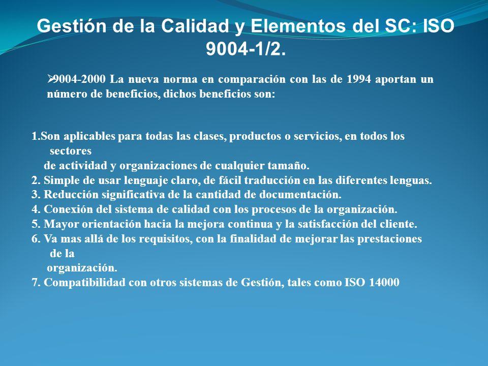 9004-2000 La nueva norma en comparación con las de 1994 aportan un número de beneficios, dichos beneficios son: Gestión de la Calidad y Elementos del