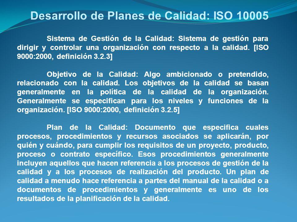 Desarrollo de Planes de Calidad: ISO 10005 Sistema de Gestión de la Calidad: Sistema de gestión para dirigir y controlar una organización con respecto