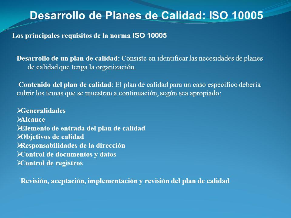 Desarrollo de Planes de Calidad: ISO 10005 Los principales requisitos de la norma ISO 10005 Desarrollo de un plan de calidad: Consiste en identificar
