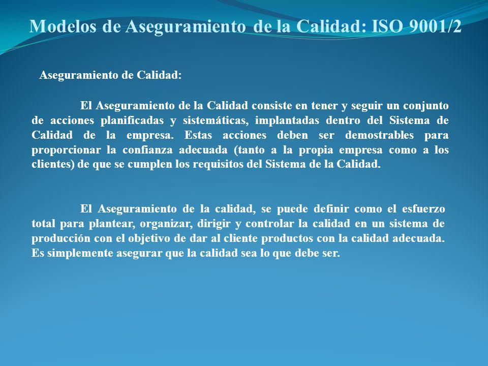 Modelos de Aseguramiento de la Calidad: ISO 9001/2 El Aseguramiento de la Calidad consiste en tener y seguir un conjunto de acciones planificadas y si