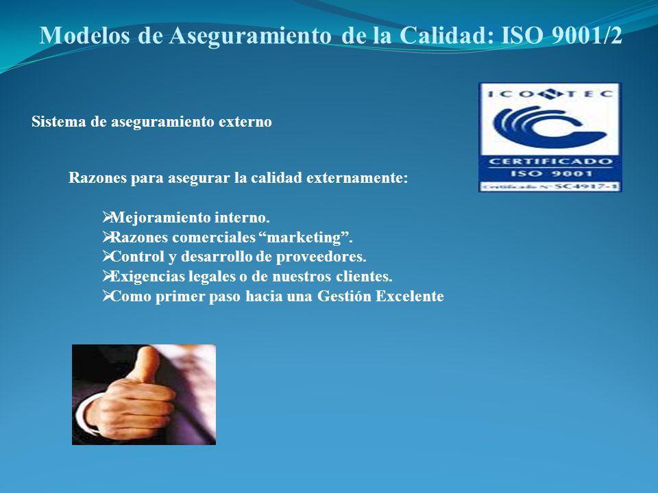 Modelos de Aseguramiento de la Calidad: ISO 9001/2 Sistema de aseguramiento externo Razones para asegurar la calidad externamente: Mejoramiento intern