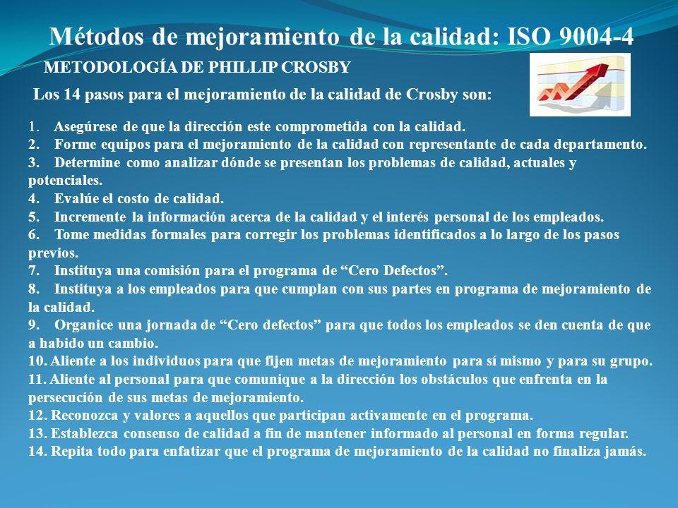 Métodos de mejoramiento de la calidad: ISO 9004-4 Los 14 pasos para el mejoramiento de la calidad de Crosby son: METODOLOGÍA DE PHILLIP CROSBY 1. Aseg