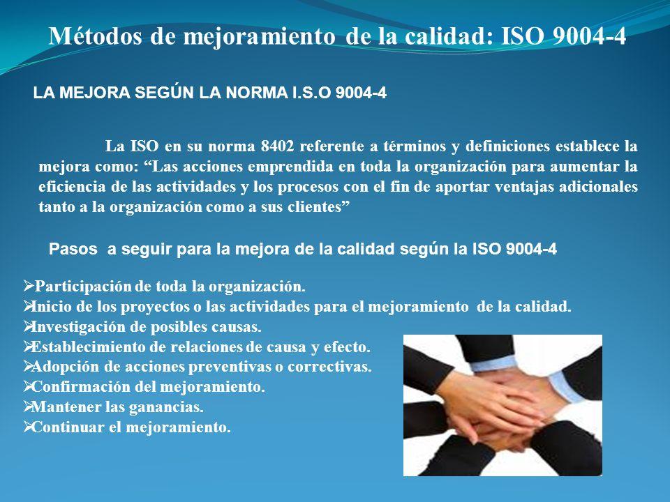 Métodos de mejoramiento de la calidad: ISO 9004-4 LA MEJORA SEGÚN LA NORMA I.S.O 9004-4 La ISO en su norma 8402 referente a términos y definiciones es