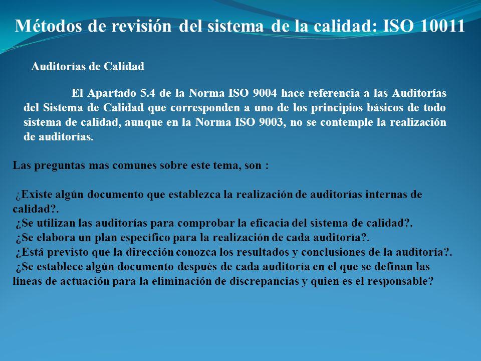 Métodos de revisión del sistema de la calidad: ISO 10011 Auditorías de Calidad El Apartado 5.4 de la Norma ISO 9004 hace referencia a las Auditorías d
