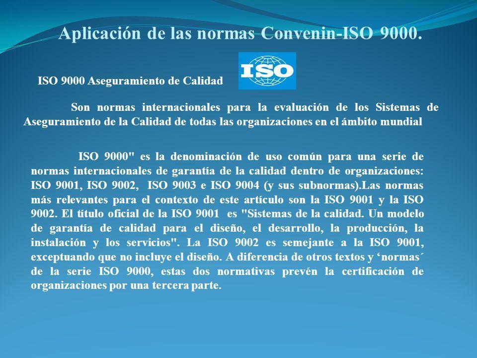 ISO 9000 Aseguramiento de Calidad Son normas internacionales para la evaluación de los Sistemas de Aseguramiento de la Calidad de todas las organizaci