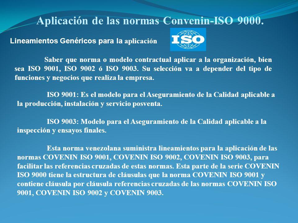 Aplicación de las normas Convenin-ISO 9000. Lineamientos Genéricos para la aplicación Saber que norma o modelo contractual aplicar a la organización,