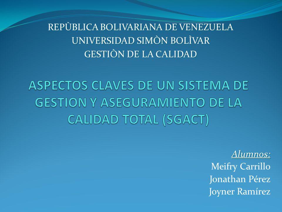 Alumnos: Meifry Carrillo Jonathan Pérez Joyner Ramírez REPÙBLICA BOLIVARIANA DE VENEZUELA UNIVERSIDAD SIMÒN BOLÌVAR GESTIÒN DE LA CALIDAD