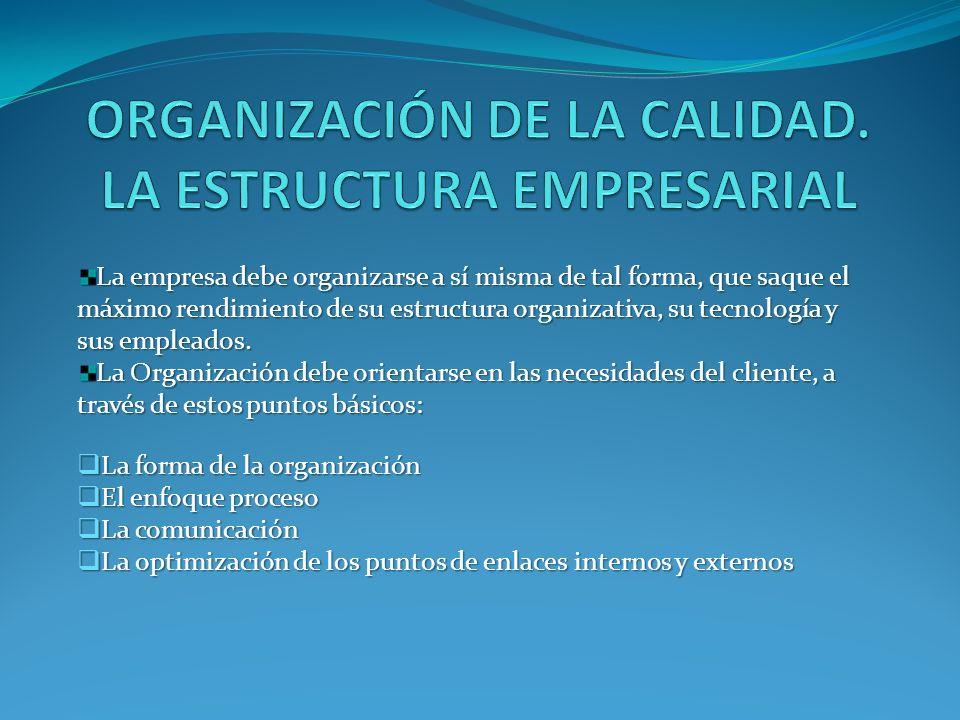 La empresa debe organizarse a sí misma de tal forma, que saque el máximo rendimiento de su estructura organizativa, su tecnología y sus empleados.