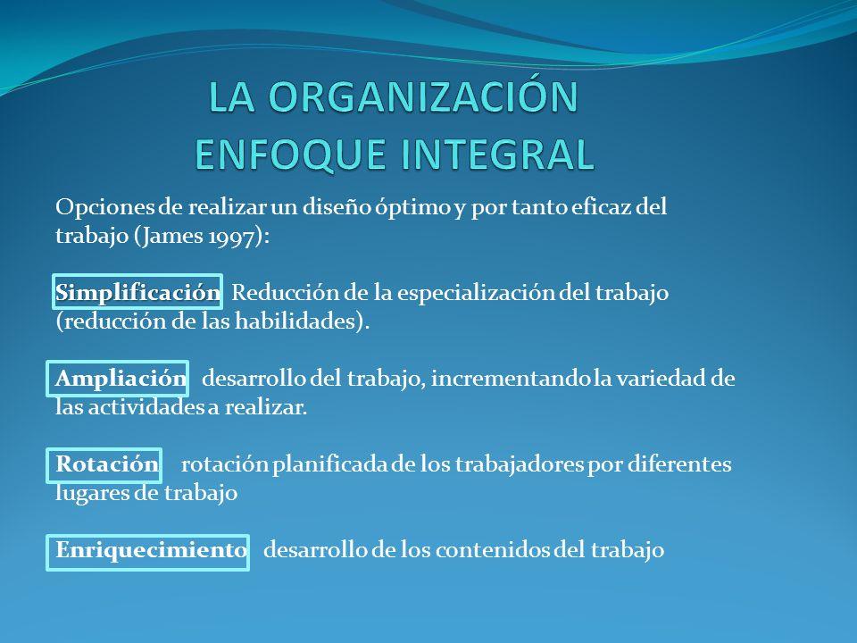 Opciones de realizar un diseño óptimo y por tanto eficaz del trabajo (James 1997): Simplificación Simplificación Reducción de la especialización del trabajo (reducción de las habilidades).