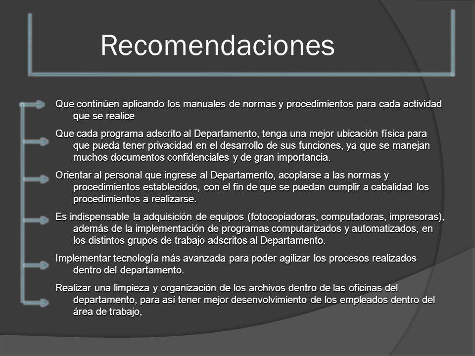 Recomendaciones Que continúen aplicando los manuales de normas y procedimientos para cada actividad que se realice Que cada programa adscrito al Depar