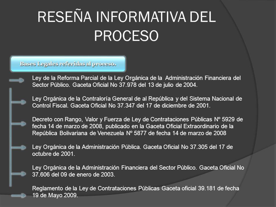 RESEÑA INFORMATIVA DEL PROCESO Bases Legales referidas al proceso. Ley de la Reforma Parcial de la Ley Orgánica de la Administración Financiera del Se